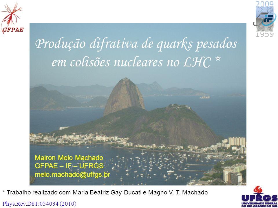 11 Produção difrativa de quarks pesados em colisões nucleares no LHC * Mairon Melo Machado GFPAE – IF – UFRGS melo.machado@ufrgs.br * Trabalho realizado com Maria Beatriz Gay Ducati e Magno V.