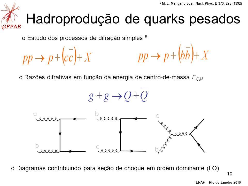 10 o Estudo dos processos de difração simples 6 Hadroprodução de quarks pesados o Razões difrativas em função da energia de centro-de-massa E CM o Diagramas contribuindo para seção de choque em ordem dominante (LO) ENAF – Rio de Janeiro 2010 6 M.