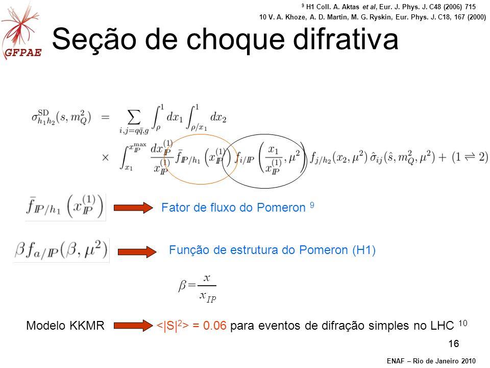 16 Seção de choque difrativa Fator de fluxo do Pomeron 9 Função de estrutura do Pomeron (H1) Modelo KKMR = 0.06 para eventos de difração simples no LHC 10 ENAF – Rio de Janeiro 2010 9 H1 Coll.