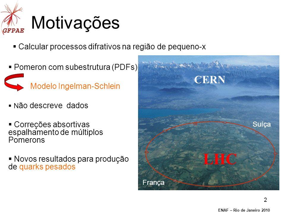 2 Motivações Calcular processos difrativos na região de pequeno-x Pomeron com subestrutura (PDFs) Modelo Ingelman-Schlein N ão descreve dados Correções absortivas espalhamento de múltiplos Pomerons Novos resultados para produção de quarks pesados ENAF – Rio de Janeiro 2010 CERN França Suíça LHC