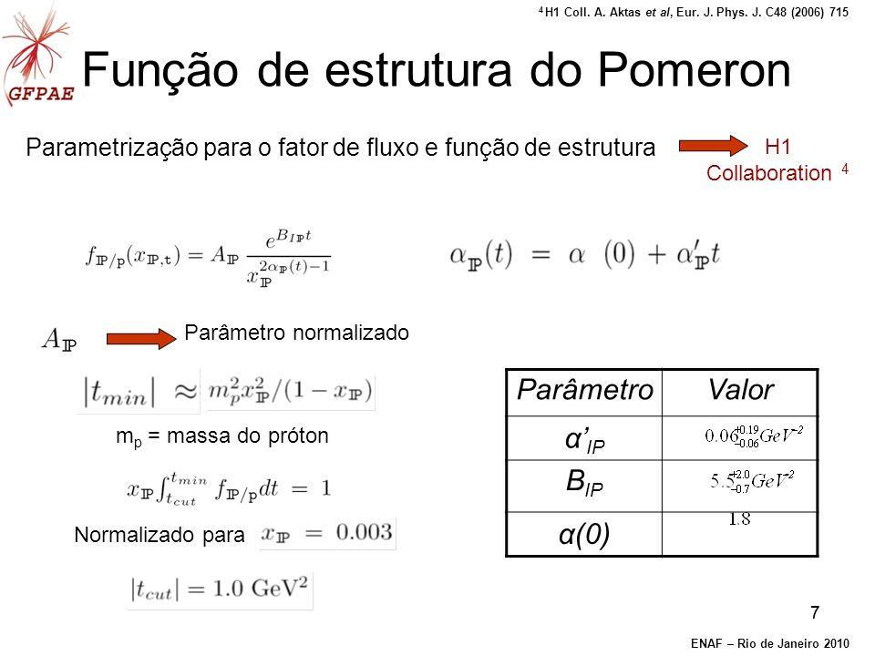 77 Função de estrutura do Pomeron Parametrização para o fator de fluxo e função de estrutura Parâmetro normalizado m p = massa do próton ParâmetroValor α IP B IP α(0) Normalizado para H1 Collaboration 4 ENAF – Rio de Janeiro 2010 4 H1 Coll.