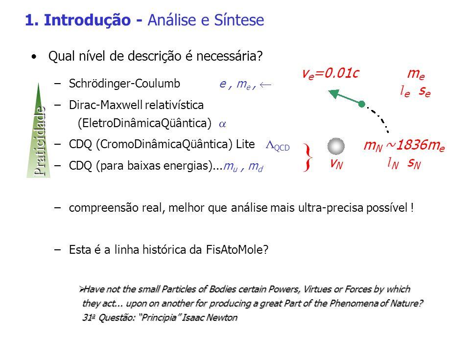 2.1.c O modelo de Bohr - com Planck em mente Níveis de energia Quantizando todo o resto – raio da órbita – velocidade / freqüência angular – momento angular