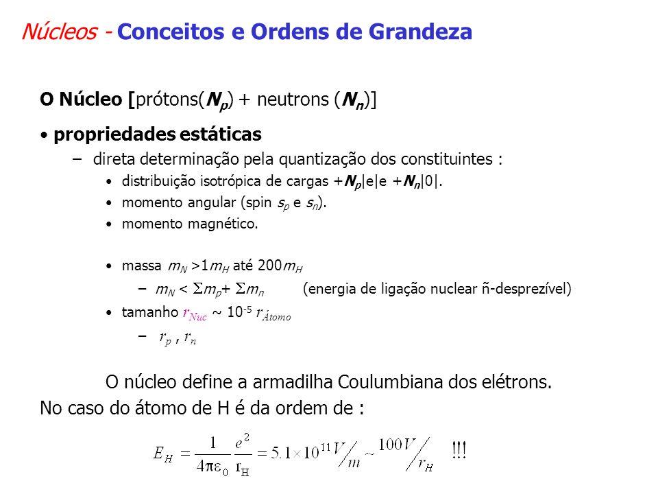 Núcleos - Conceitos e Ordens de Grandeza O Núcleo [prótons(N p ) + neutrons (N n )] propriedades estáticas –direta determinação pela quantização dos constituintes : distribuição isotrópica de cargas +N p |e|e +N n |0|.