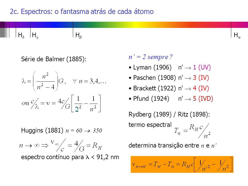 2c. Espectros: o fantasma atrás de cada átomo Série de Balmer (1885): Huggins (1881) n = 60 350 espectro contínuo para 91,2 nm n = 2 sempre ? Lyman (1