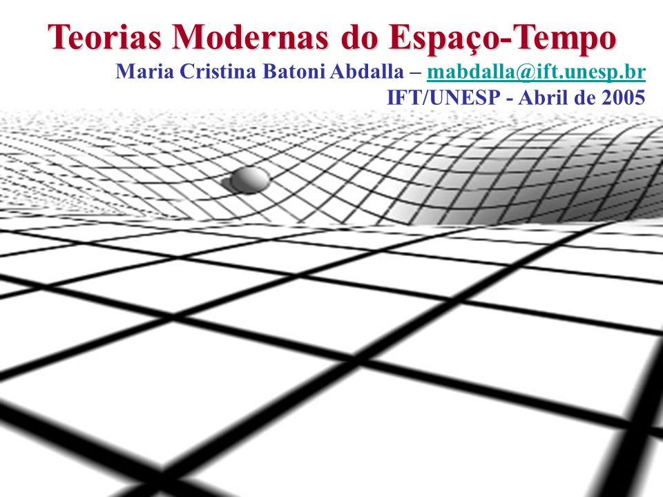 1 Teorias Modernas do Espaço-Tempo Maria Cristina Batoni Abdalla – mabdalla@ift.unesp.brmabdalla@ift.unesp.br IFT/UNESP - Abril de 2005