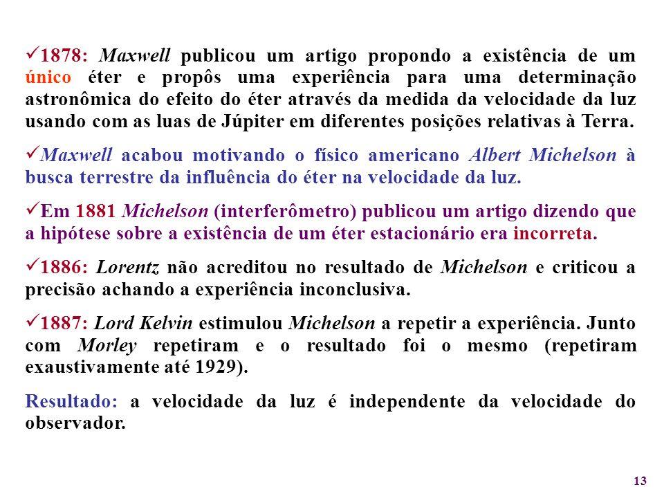 13 1878: Maxwell publicou um artigo propondo a existência de um único éter e propôs uma experiência para uma determinação astronômica do efeito do éte