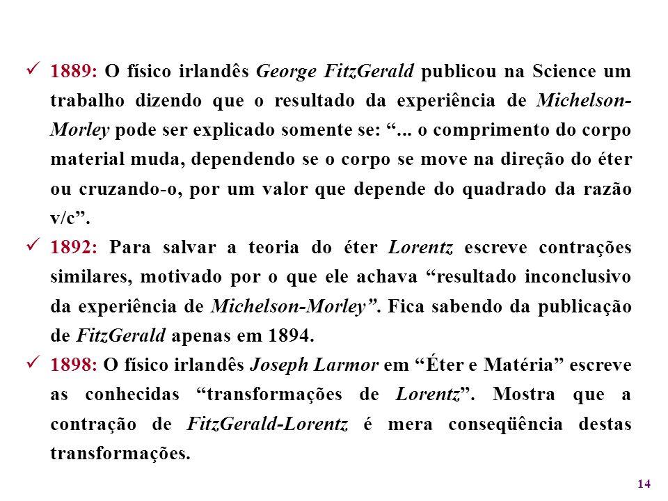 14 1889: O físico irlandês George FitzGerald publicou na Science um trabalho dizendo que o resultado da experiência de Michelson- Morley pode ser expl