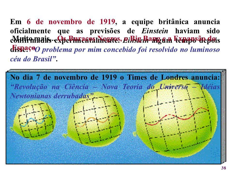 38 Em 6 de novembro de 1919, a equipe britânica anuncia oficialmente que as previsões de Einstein haviam sido confirmadas experimentalmente. Einstein