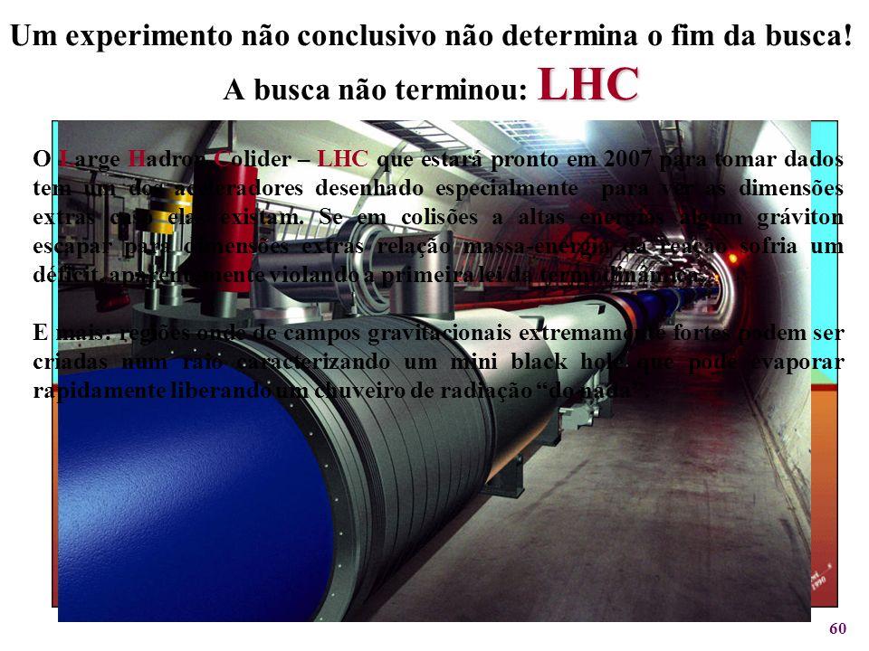 60 LHC Um experimento não conclusivo não determina o fim da busca! A busca não terminou: LHC O Large Hadron Colider – LHC que estará pronto em 2007 pa