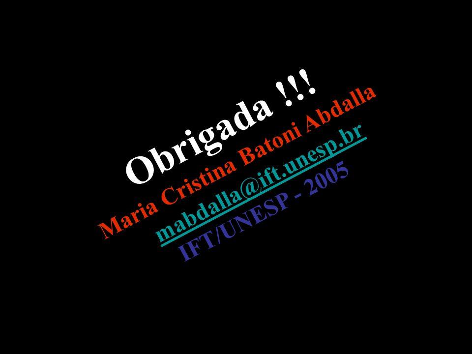 66 Obrigada !!! Maria Cristina Batoni Abdalla mabdalla@ift.unesp.br mabdalla@ift.unesp.br IFT/UNESP - 2005