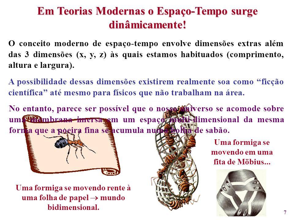 7 Uma formiga se movendo rente à uma folha de papel mundo bidimensional. Uma formiga se movendo em uma fita de Möbius... A possibilidade dessas dimens