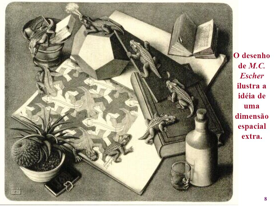 8 O desenho de M.C. Escher ilustra a idéia de uma dimensão espacial extra.