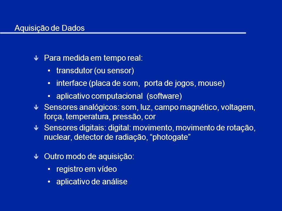 Aquisição de Dados ê Para medida em tempo real: transdutor (ou sensor) interface (placa de som, porta de jogos, mouse) aplicativo computacional (softw
