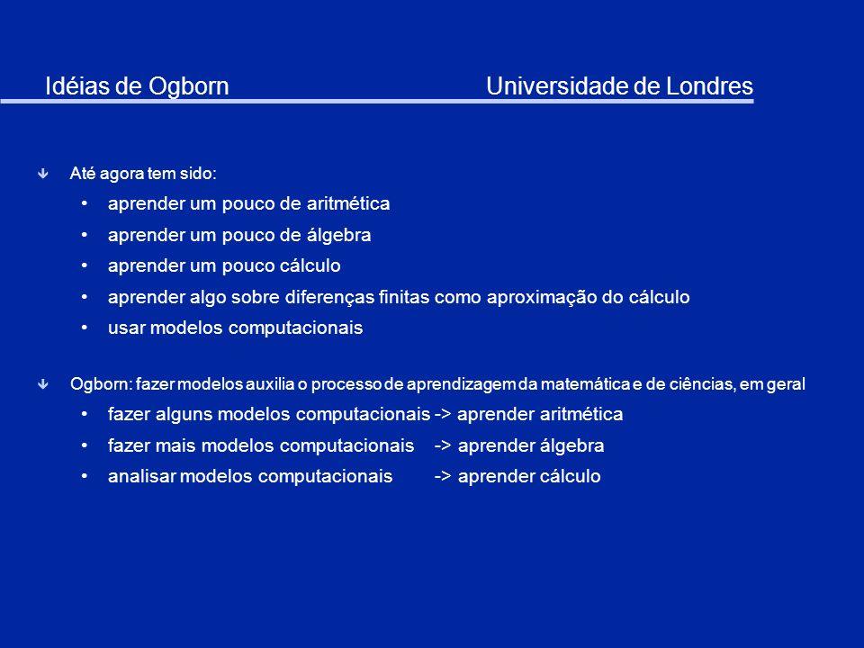 Idéias de Ogborn Universidade de Londres ê Até agora tem sido: aprender um pouco de aritmética aprender um pouco de álgebra aprender um pouco cálculo