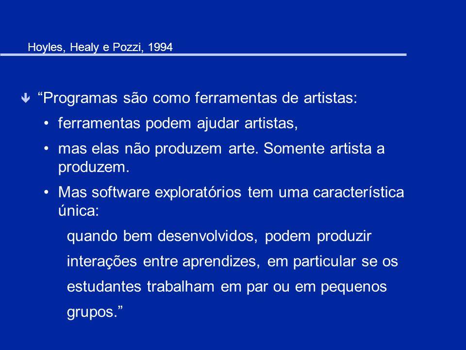 Hoyles, Healy e Pozzi, 1994 ê Programas são como ferramentas de artistas: ferramentas podem ajudar artistas, mas elas não produzem arte. Somente artis