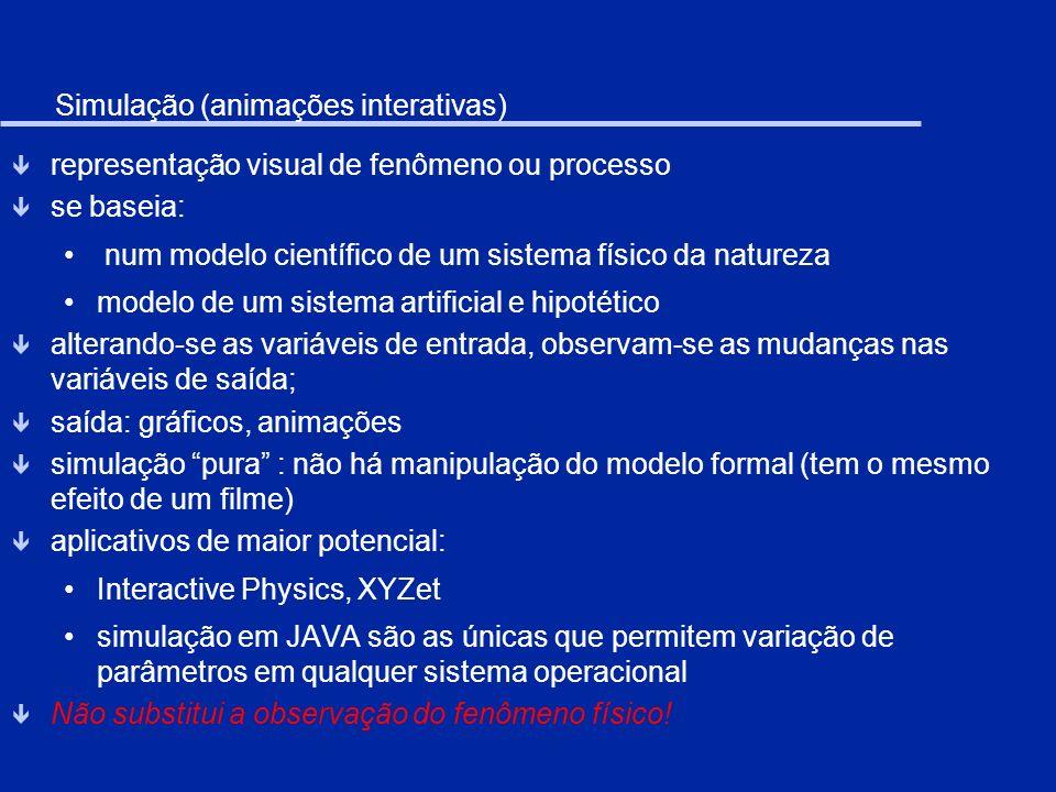 Modelagem computacional ê representação formal de um processo ou fenômeno ê trabalha com o modelo matemático subjacente ao modelo físico ê usa diferentes formas de representação externas: gráficos, tabelas, animações ê há acesso e manipulação das expressões que traduzem as relações entre as variáveis ê pode permitir a manipulação de objetos concretos-abstratos ê há diferentes linguagens, metáforas e aplicativos computacionais para modelagem: linguagens computacionais: TRUEBASIC, VISUALBASIC, DELPHI, C, C++, JAVA (requer conhecimento de programação) metáforas: STELLA, BOXER,...