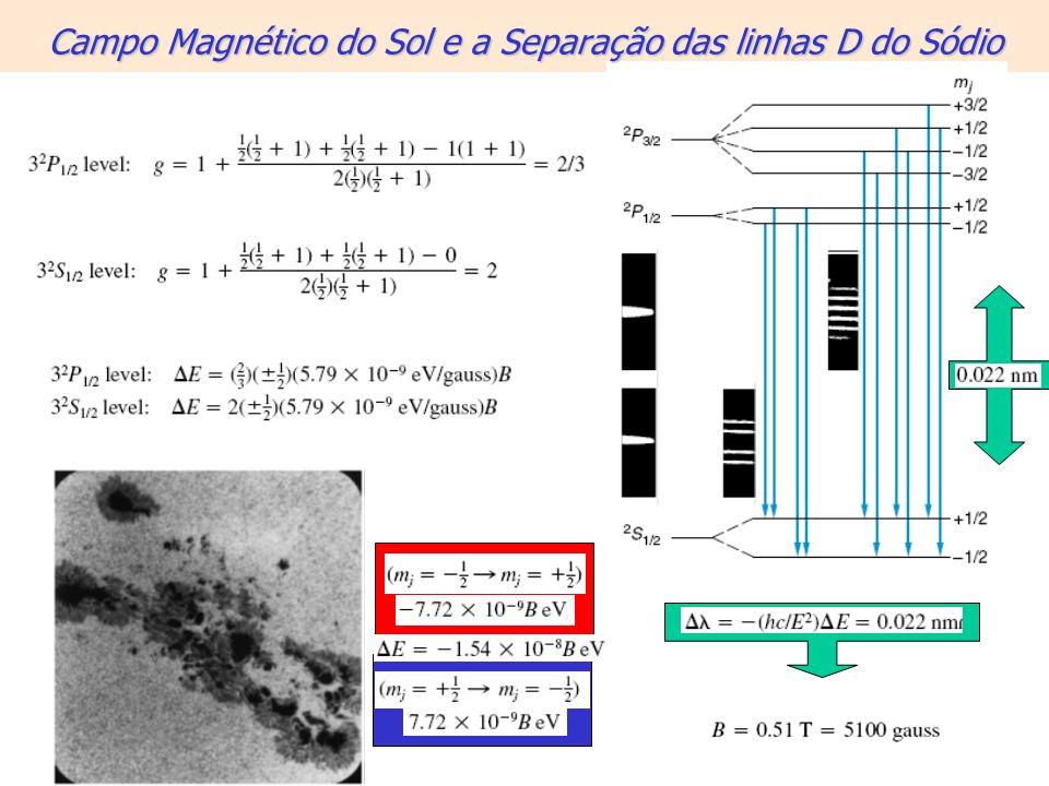 Campo Magnético do Sol e a Separação das linhas D do Sódio