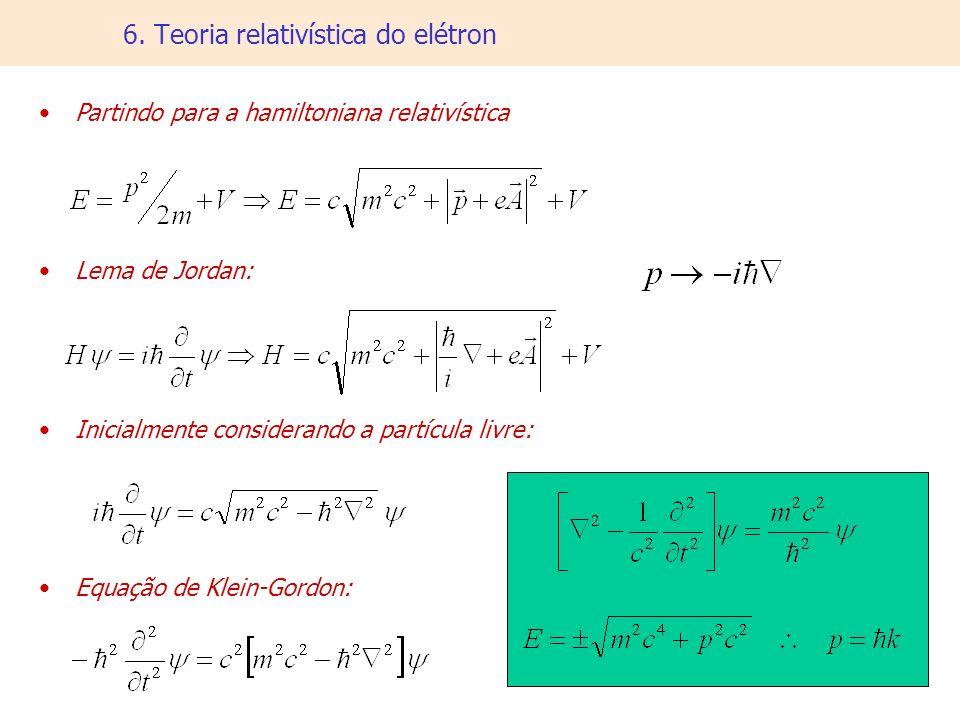 6. Teoria relativística do elétron Partindo para a hamiltoniana relativística Lema de Jordan: Inicialmente considerando a partícula livre: Equação de