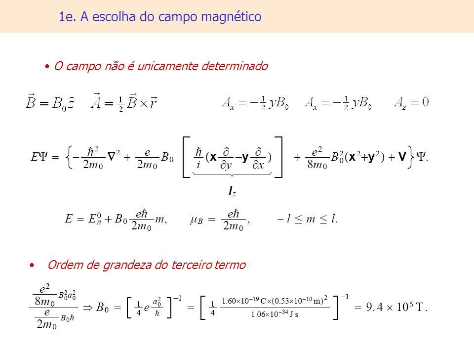 1e. A escolha do campo magnético O campo não é unicamente determinado Ordem de grandeza do terceiro termo
