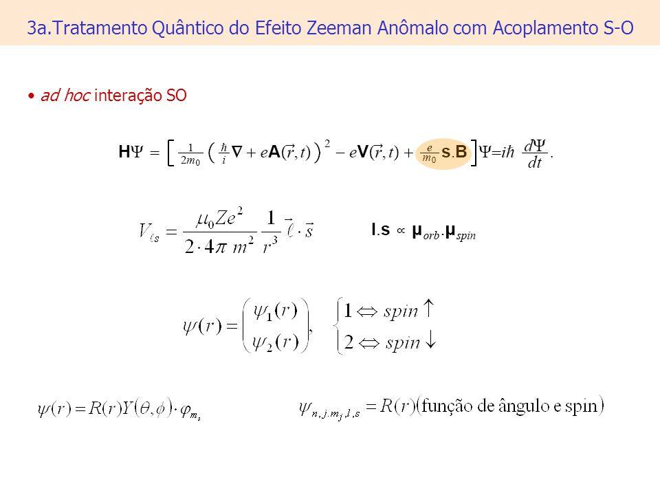 3a.Tratamento Quântico do Efeito Zeeman Anômalo com Acoplamento S-O ad hoc interação SO
