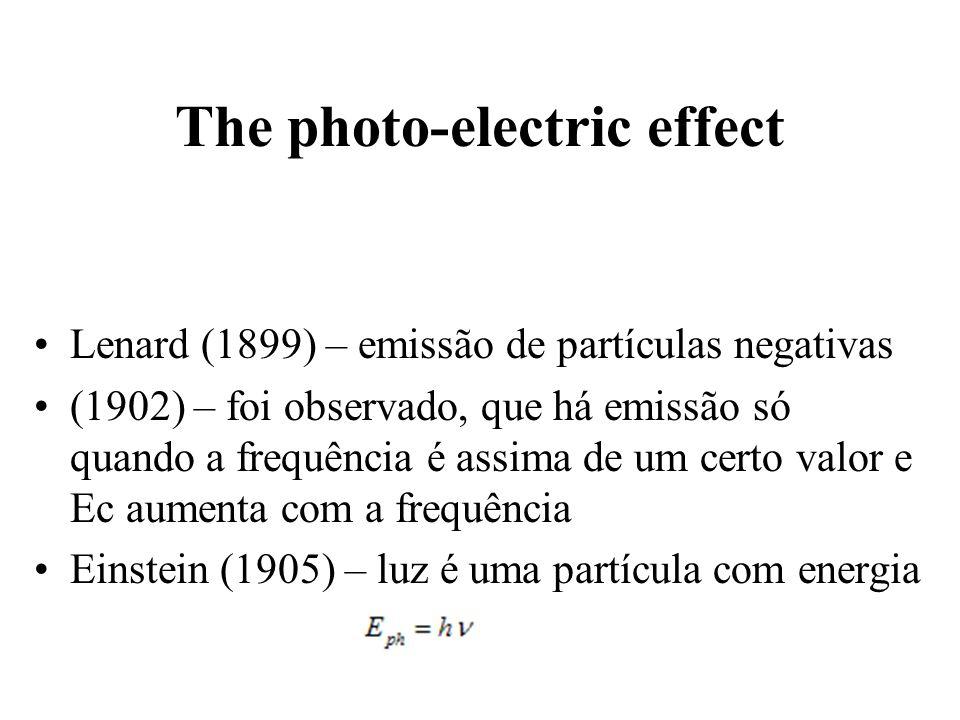 Lenard (1899) – emissão de partículas negativas (1902) – foi observado, que há emissão só quando a frequência é assima de um certo valor e Ec aumenta