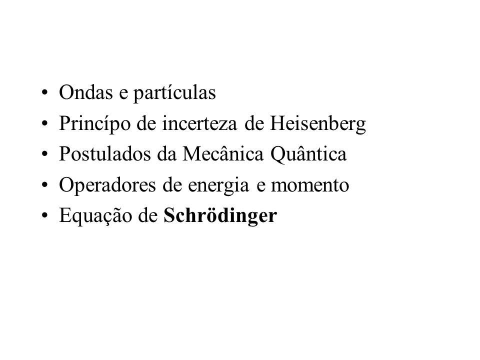 Ondas e partículas Princípo de incerteza de Heisenberg Postulados da Mecânica Quântica Operadores de energia e momento Equação de Schrödinger