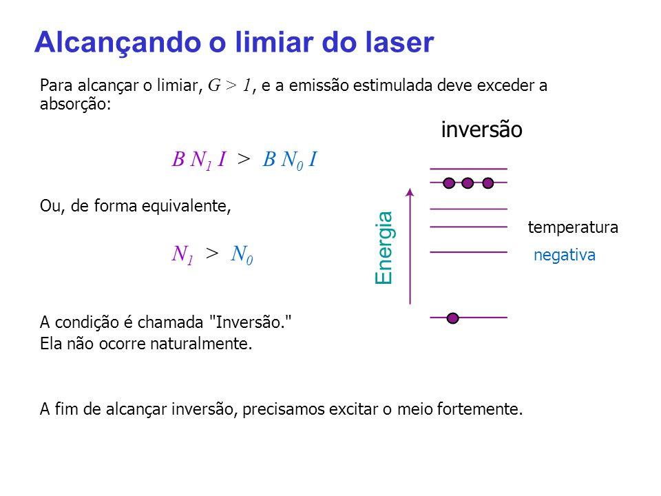 Alcançando o limiar do laser Para alcançar o limiar, G > 1, e a emissão estimulada deve exceder a absorção: inversão B N 1 I > B N 0 I Ou, de forma eq