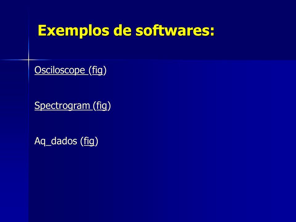 Exemplos de softwares: Osciloscope Osciloscope (fig)fig Spectrogram Spectrogram (fig)fig Aq_dados (fig)fig