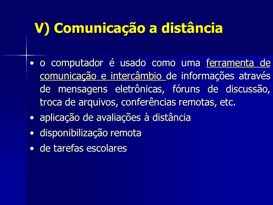 V) Comunicação a distância o computador é usado como uma ferramenta de comunicação e intercâmbio de informações através de mensagens eletrônicas, fóruns de discussão, troca de arquivos, conferências remotas, etc.o computador é usado como uma ferramenta de comunicação e intercâmbio de informações através de mensagens eletrônicas, fóruns de discussão, troca de arquivos, conferências remotas, etc.ferramenta de comunicação e intercâmbio ferramenta de comunicação e intercâmbio aplicação de avaliações à distânciaaplicação de avaliações à distância disponibilização remotadisponibilização remota de tarefas escolaresde tarefas escolares