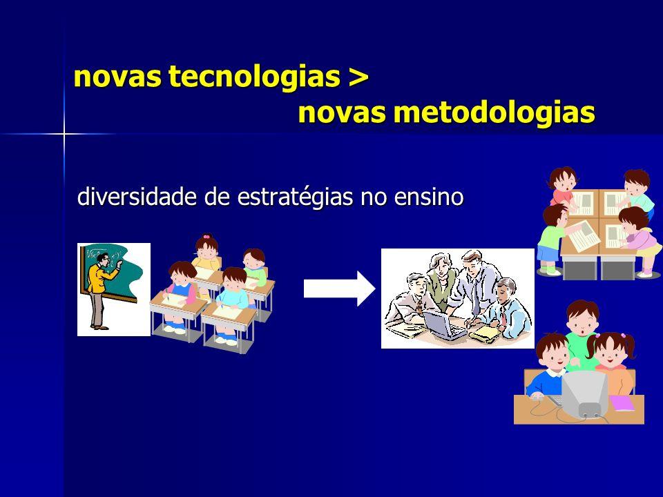 novas tecnologias > novas metodologias diversidade de estratégias no ensino diversidade de estratégias no ensino