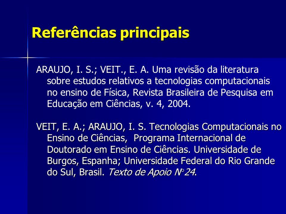 Referências principais ARAUJO, I. S.; VEIT., E. A.