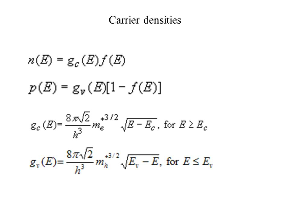 Carrier densities