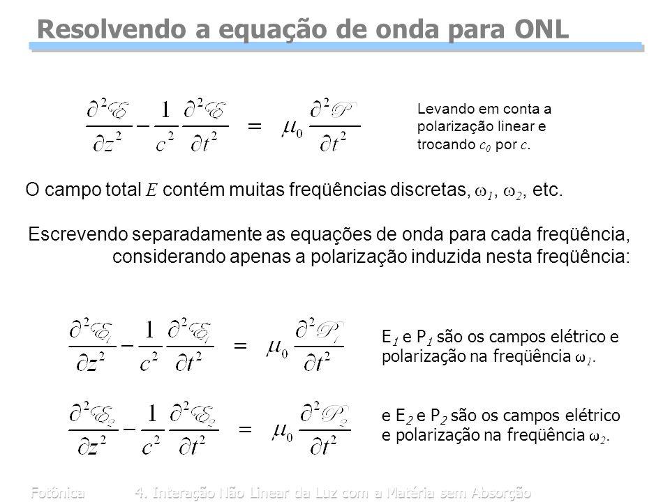 Fotônica4. Interação Não Linear da Luz com a Matéria sem Absorção Resolvendo a equação de onda para ONL Levando em conta a polarização linear e trocan