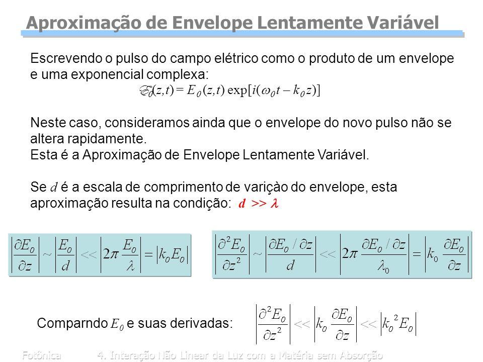 Fotônica4. Interação Não Linear da Luz com a Matéria sem Absorção Escrevendo o pulso do campo elétrico como o produto de um envelope e uma exponencial