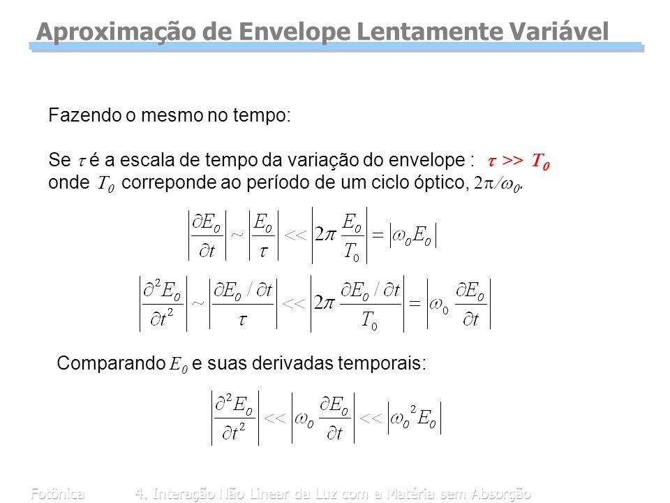 Fotônica4. Interação Não Linear da Luz com a Matéria sem Absorção Fazendo o mesmo no tempo: Se é a escala de tempo da variação do envelope : >> onde c