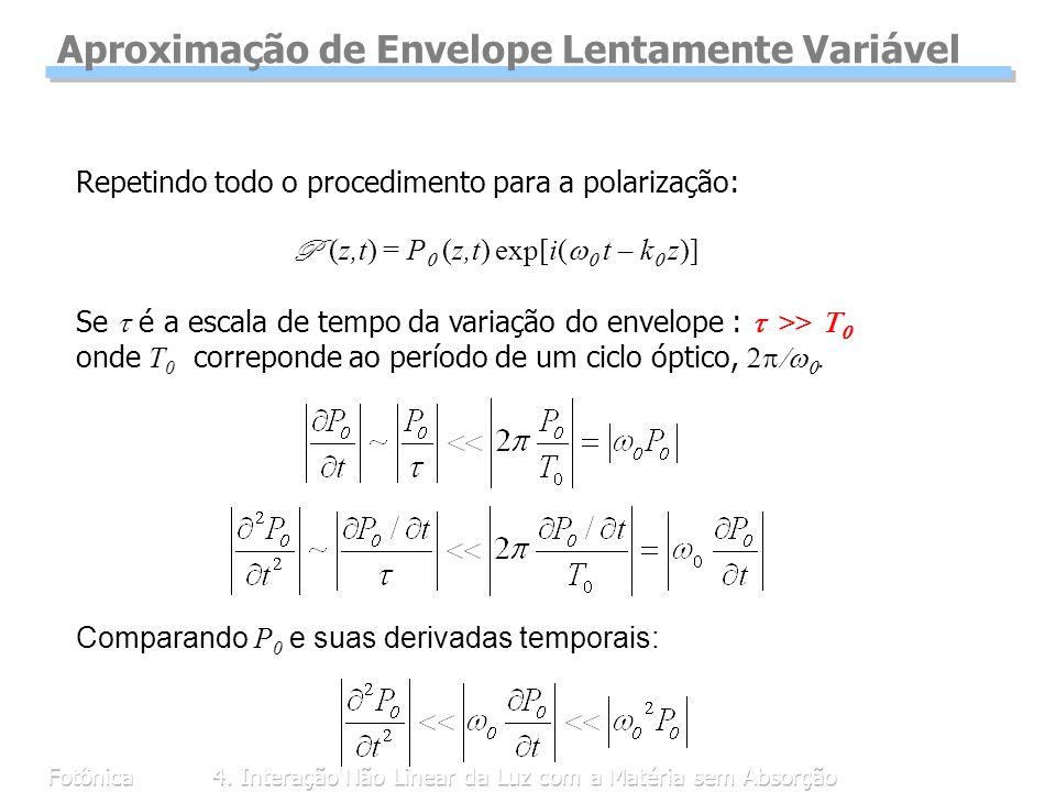 Fotônica4. Interação Não Linear da Luz com a Matéria sem Absorção Repetindo todo o procedimento para a polarização: P (z,t) = P (z,t) exp[i( t – k z)]