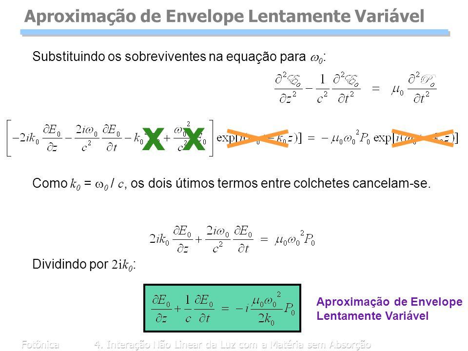 Fotônica4. Interação Não Linear da Luz com a Matéria sem Absorção Como k 0 = 0 / c, os dois útimos termos entre colchetes cancelam-se. Aproximação de