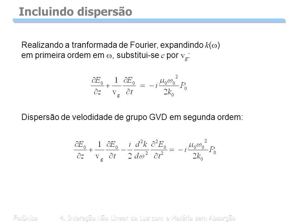 Fotônica4. Interação Não Linear da Luz com a Matéria sem Absorção Incluindo dispersão Realizando a tranformada de Fourier, expandindo k ( ) em primeir
