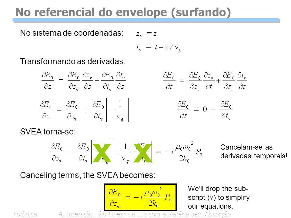 Fotônica4. Interação Não Linear da Luz com a Matéria sem Absorção No referencial do envelope (surfando) No sistema de coordenadas: z v = z t v = t – z