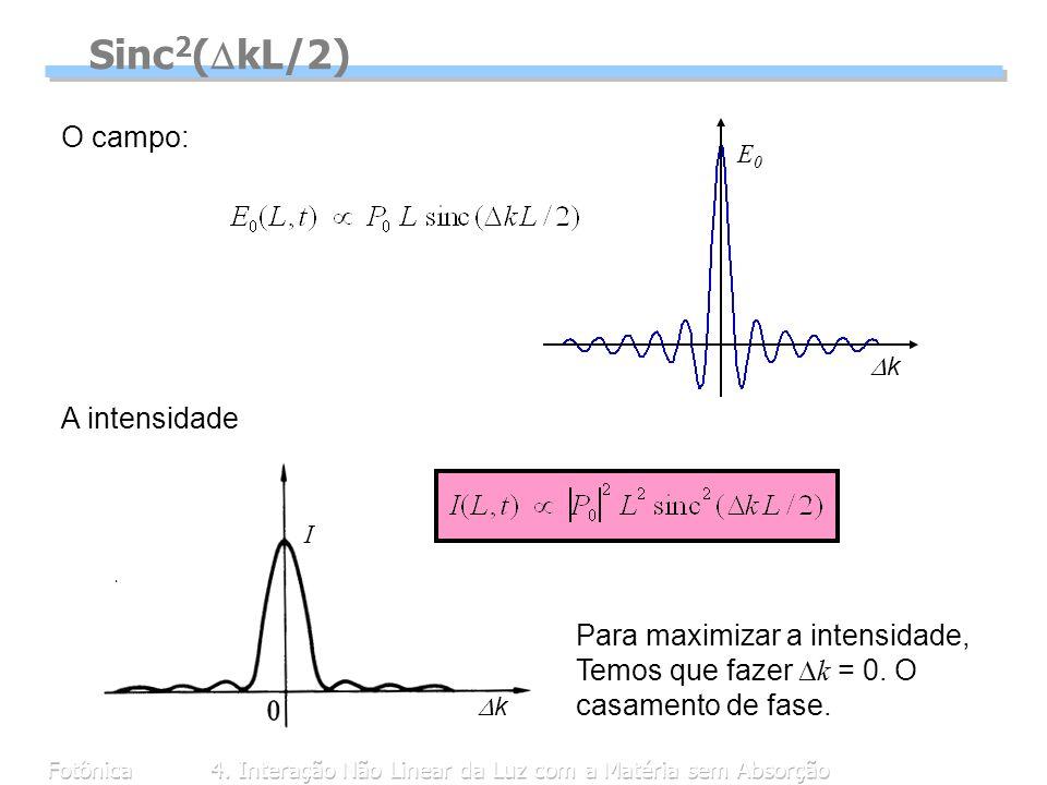 Fotônica4. Interação Não Linear da Luz com a Matéria sem Absorção I k Sinc 2 ( kL/2) A intensidade Para maximizar a intensidade, Temos que fazer k = 0