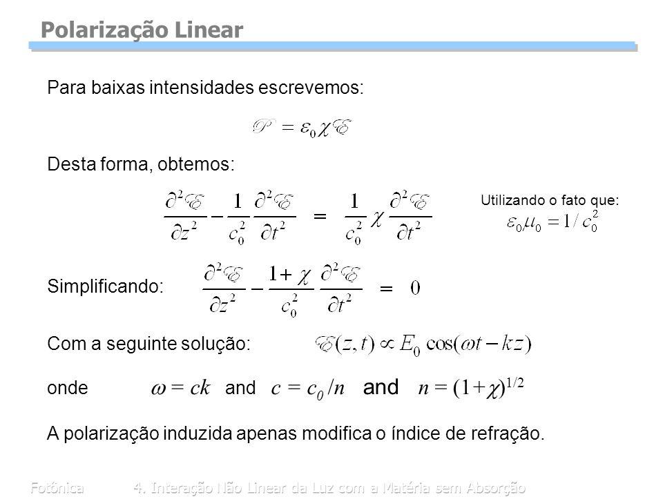 Fotônica4. Interação Não Linear da Luz com a Matéria sem Absorção Polarização Linear Para baixas intensidades escrevemos: Desta forma, obtemos: Com a