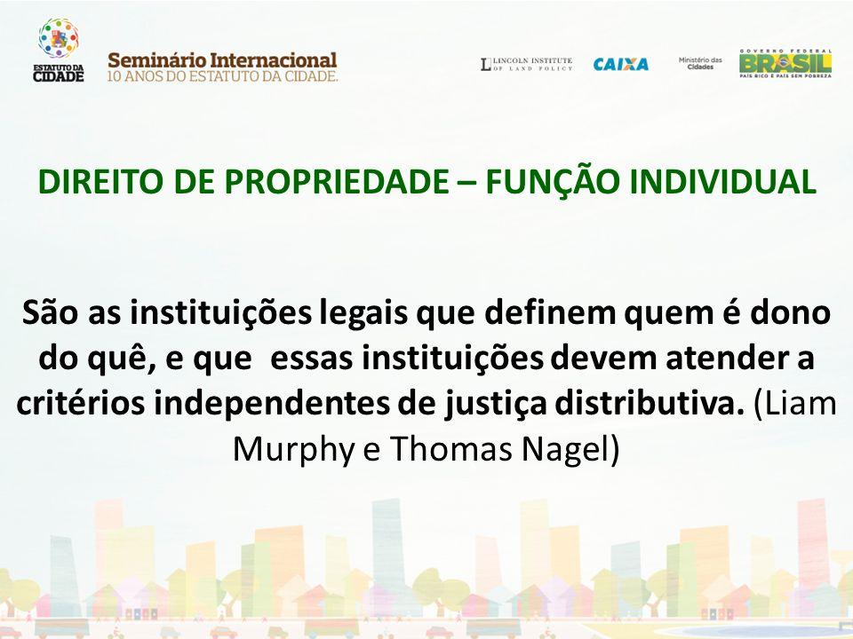 DIREITO DE PROPRIEDADE – FUNÇÃO INDIVIDUAL São as instituições legais que definem quem é dono do quê, e que essas instituições devem atender a critéri