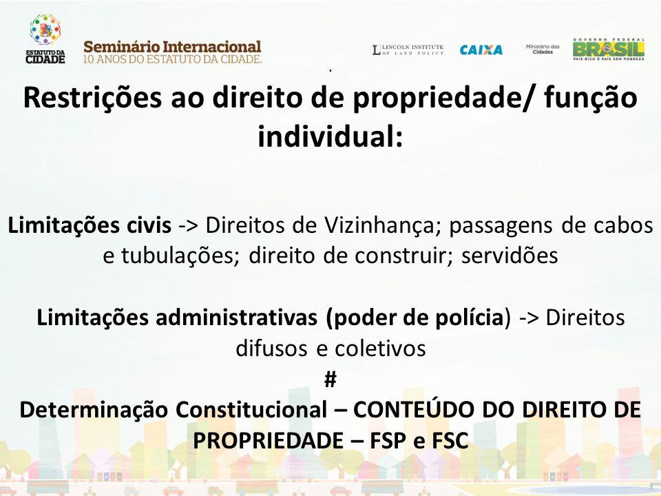 . Restrições ao direito de propriedade/ função individual: Limitações civis -> Direitos de Vizinhança; passagens de cabos e tubulações; direito de con