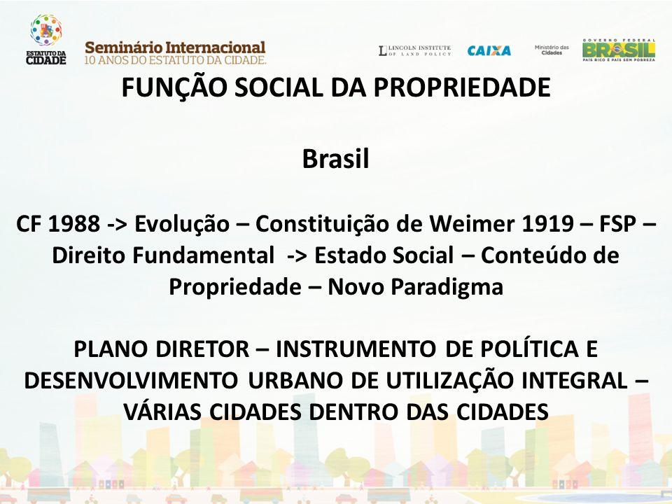 FUNÇÃO SOCIAL DA PROPRIEDADE Brasil CF 1988 -> Evolução – Constituição de Weimer 1919 – FSP – Direito Fundamental -> Estado Social – Conteúdo de Propr