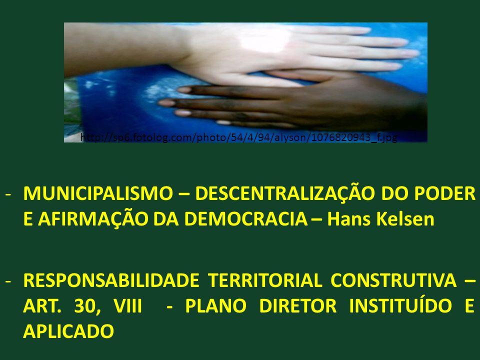 -MUNICIPALISMO – DESCENTRALIZAÇÃO DO PODER E AFIRMAÇÃO DA DEMOCRACIA – Hans Kelsen -RESPONSABILIDADE TERRITORIAL CONSTRUTIVA – ART. 30, VIII - PLANO D