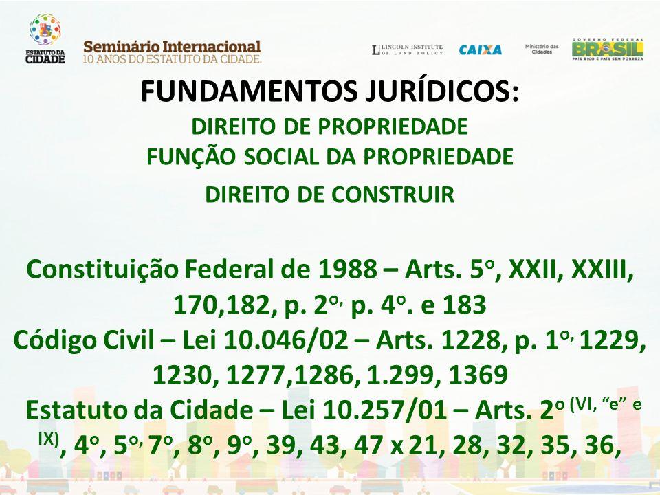 FUNDAMENTOS JURÍDICOS: DIREITO DE PROPRIEDADE FUNÇÃO SOCIAL DA PROPRIEDADE DIREITO DE CONSTRUIR Constituição Federal de 1988 – Arts. 5 o, XXII, XXIII,