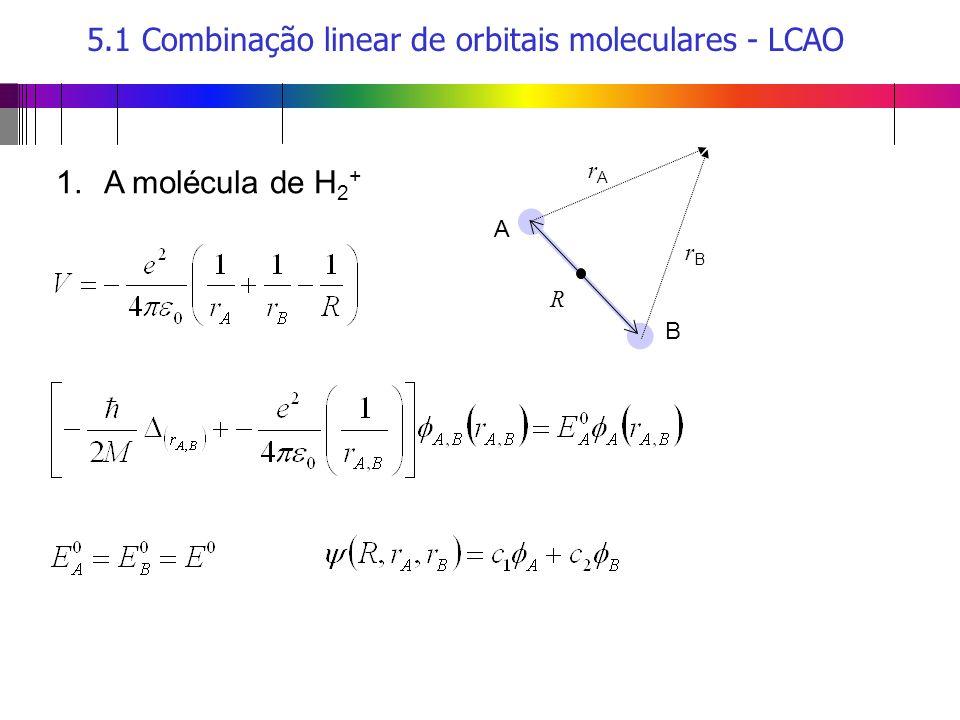5.1 Combinação linear de orbitais moleculares - LCAO A R B rArA rBrB 1.A molécula de H 2 +