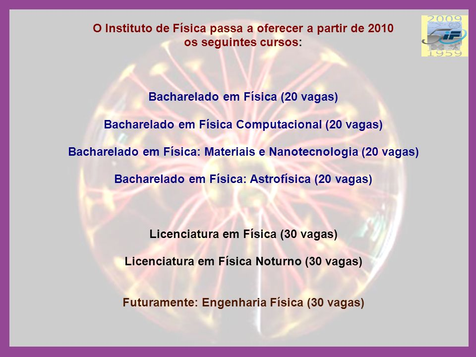 O Instituto de Física passa a oferecer a partir de 2010 os seguintes cursos: Bacharelado em Física (20 vagas) Bacharelado em Física Computacional (20