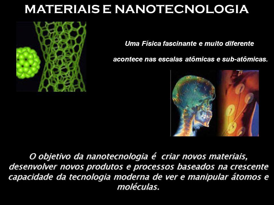 MATERIAIS E NANOTECNOLOGIA Uma Física fascinante e muito diferente acontece nas escalas atômicas e sub-atômicas. O objetivo da nanotecnologia é criar