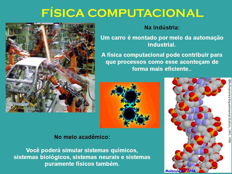 FÍSICA COMPUTACIONAL Na indústria: Um carro é montado por meio da automação industrial. A física computacional pode contribuir para que processos como